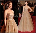 Anne Hathaway Gold Celebrity Dresses Bling Gold Sqeuins Evening Dress Red Carpet Sexy Women Formal Wear