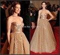 Anne Hathaway Sqeuins Ouro Celebridade Vestidos de Bling Do Ouro Vestido de Noite Tapete Vermelho Sexy Das Mulheres Desgaste Formal