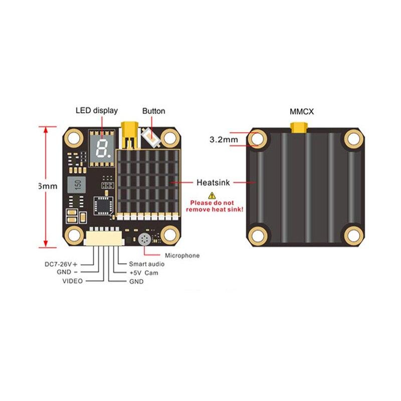 AKK FX2-Dominator 250 mW/500 mW/1000 mW/2000 mW commuté Audio intelligent 5.8 Ghz 40CH FPV émetteur bande de course et micro - 6