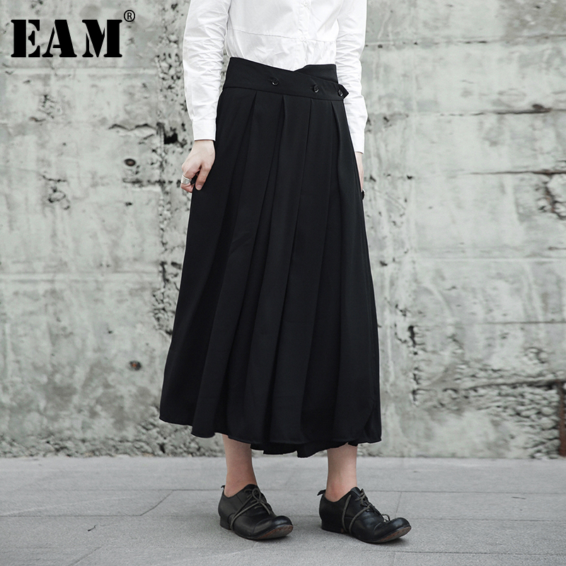 [EAM] 2019 новая весенняя Высокая талия черная пуговица плиссированная сплит-совместная свободная длинная полуюбка женская мода прилив JG911
