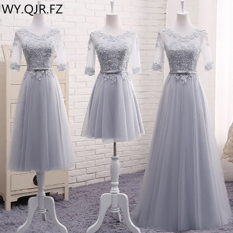 MNZ509HS#half Sleeve Embroidery Lace Up Long Grey Spring 2019 New Wedding Party Prom Toast Dress Bridesmaid Dresses Wholesale