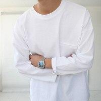 Japan Harajuku Long Sleeve T Shirt Men O Neck Cotton Solid Colors White Tee Shirts Mens