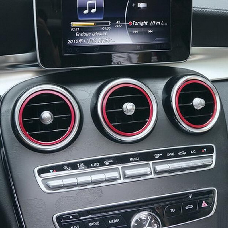 2-5 PCS Car New DIY Aluminum Air Conditioning Vent Circle Cover Case for Benz C Grade 2015 C180l C200l C300 Parts Accessories