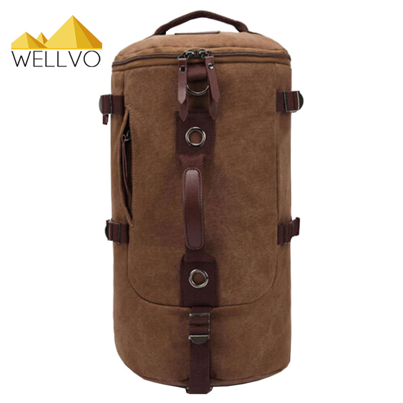 2017 Hot Fashion Men Canvas Backpack 2017 Retro Travel Bag Large Capacity Casual Shoulder Rucksack Belt