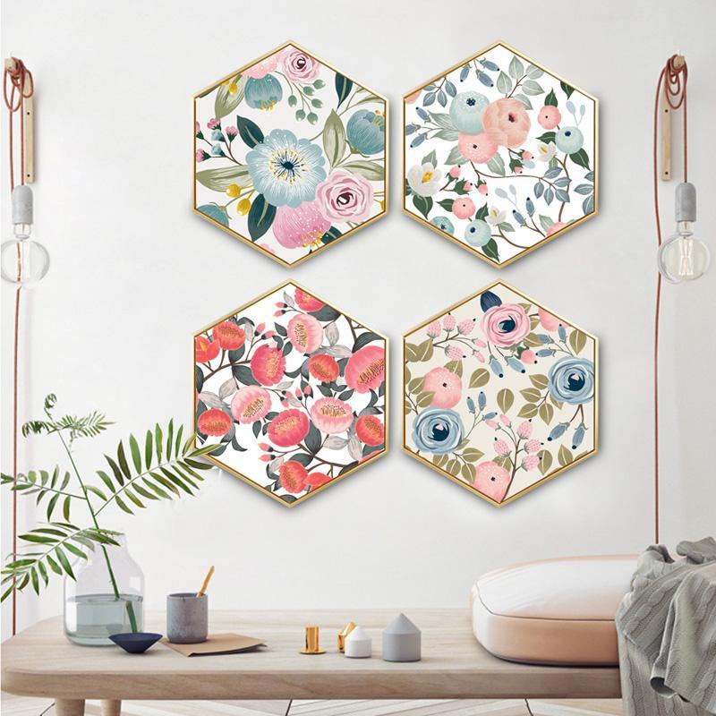 Hexagonal decorative painting Creative minimalist modern Flowery Restaurant living room paintings framed
