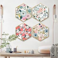 Hexagonal decorative painting Creative minimalist modern Flowery Restaurant living room paintings framed