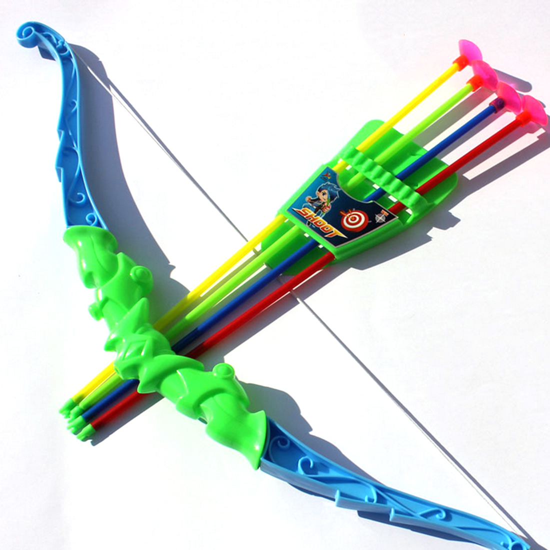Arrows for Bow Children Harmless Emulational Toy Bow with 4Pcs Plastic Soft Arrows - Color Random