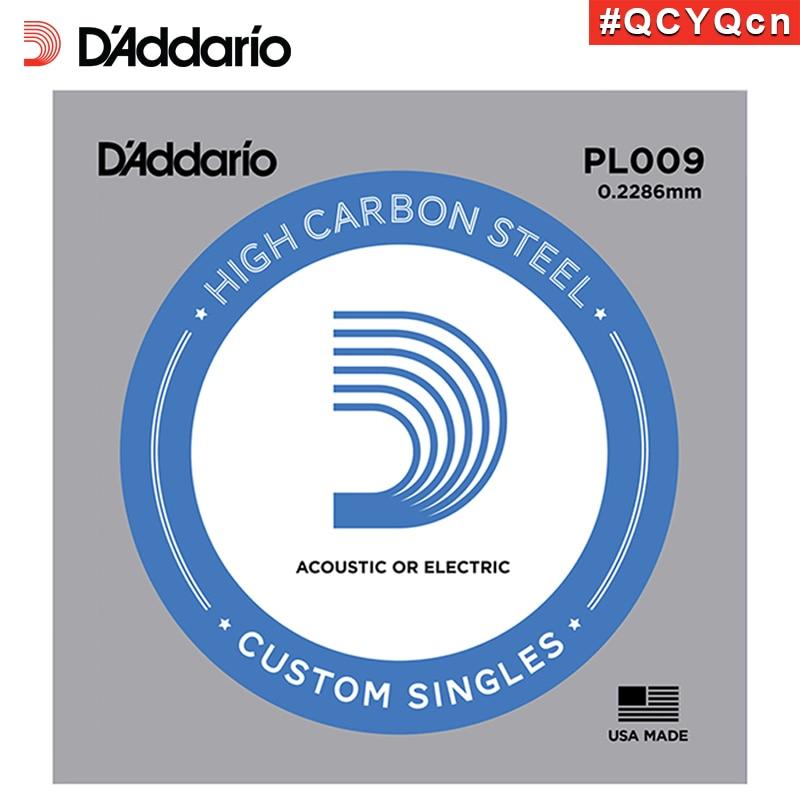 DAddario Daddario PL009 American Made Plain Steel Acoustic or Electric Guitar Single String, 09