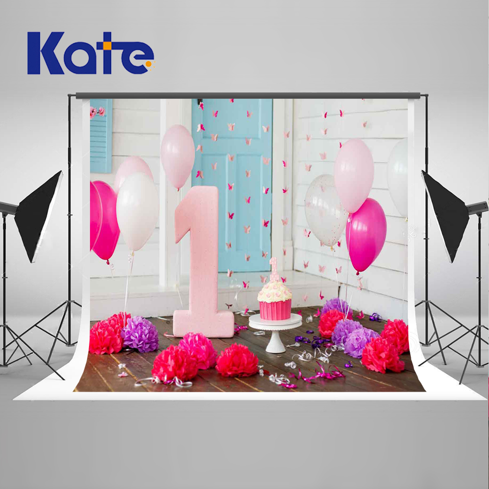 5x7ft Pink Happy Birthday Photography Backgrounds 1st Balloons Photo Backdrops Flower Indoor Backgrounds for Children Photo Prop kids birthday balloons mini crown number balloons boy happy birthday candy princess balloon 40 30cm not include stander
