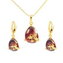Красные серьги подвески в форме капли ювелирный набор желтое