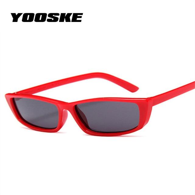 212560dcc0e YOOSKE Small Cat Eye Sunglasses Women Vintage Unique Design Rectangle Sun  Glasses for Men Fashion Small