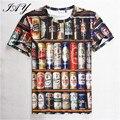 3D Impreso hombres Camiseta Impresa Latas de Cerveza Con Estilo hombre de Manga Corta O-cuello de La Manera Camisetas de Verano Superior Masculina Perfecta Calidad S-XXL