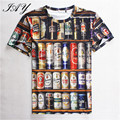 3D Printed Men's T-Shirt Printed Beer Tins Stylish Short Sleeve man Tees Summer  O-Neck Fashion Male Tops Perfect Quality S-XXL