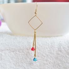 a Pair Blue Red Color Crystal Flower Geometry Copper Drop Earrings For Women Vintage Fashion Jewelry Korean Bohemian Cute Love