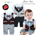 infant wedding suit  short sleeve baby  toddler boy 2 colors gentleman cotton vest bow tie flower romper suit party clothes