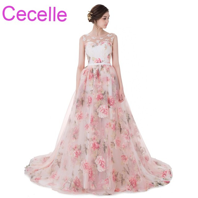 Blushing Floral Print Organza Prom Dresses 2018 New A line ...