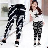Korean Version Of Children Clothing Baby Autumn New Girl Fashion Harlan Pants Stripes Big Child Trousers