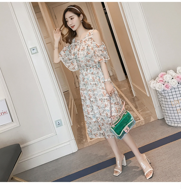 Pregnant Nursing Dress Off Shoulder print Maternity Breastfeeding Dresses For Photo Shoot Chiffon Maternity Dress Party Clothes 83