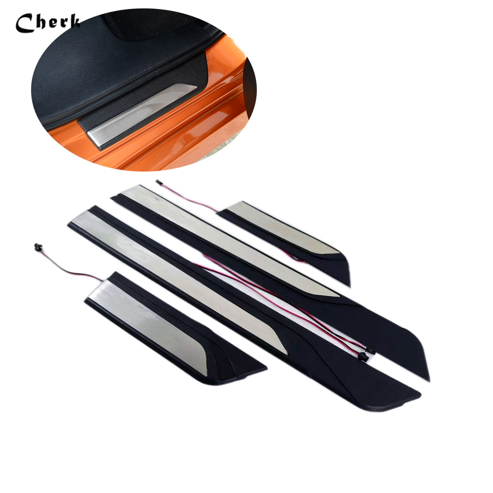 4pcs Car Accessories For Honda Civic 2016-2017 LED Door Sill Scuff Plate Covers Door Sills Protector with logo car styling for suzuki vitara inner door sill scuff plate guard door sills pedal protector car stickers accessories 2015 2016