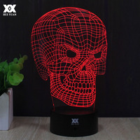 Novelty Skull 3D Lamp LED Touch Night Light 7 Colors Changing Table Lamp USB Children S