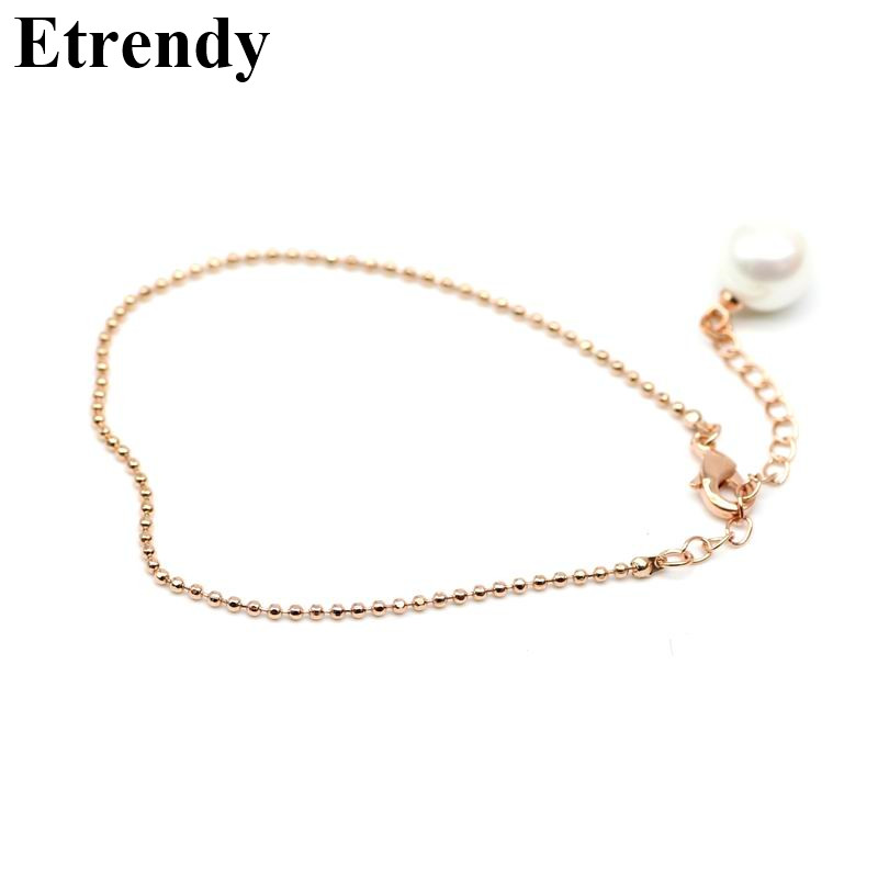 Simple Rose Gold-Color Chain Thin Bracelet Women Fashion Jewelry With Simulated Pearl For Decoration Adjustable Fine Gifts