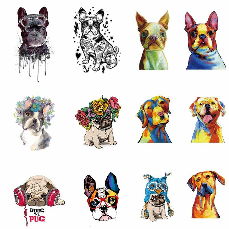 French Bulldog Patches On Clothes A-level Washable oil Watercolor Dog Applique Iron on Heat Transfer For Clothing Wholesale Z-14