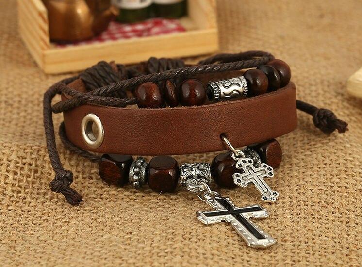 6pcsNew Men Jewelry Pirate Style Bronze Genuine Leather Bracelets Wholesale Cuff braided Wrap Bracelet & Bangles Gifts
