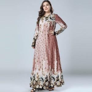 Image 2 - נשים חורף שמלות הדפסת Bronzing קטיפה העבאיה מוסלמי מקסי שמלת האסלאמי ערבית Abayas ארוך שרוול שמלת פקיסטני דובאי M 4XL