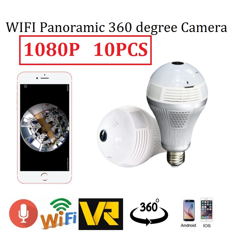 10pcs 1080P Light Bulb Wireless IP 360 degree Camera 2MP Wi-Fi Panoramic Lamp use HD Fis ...