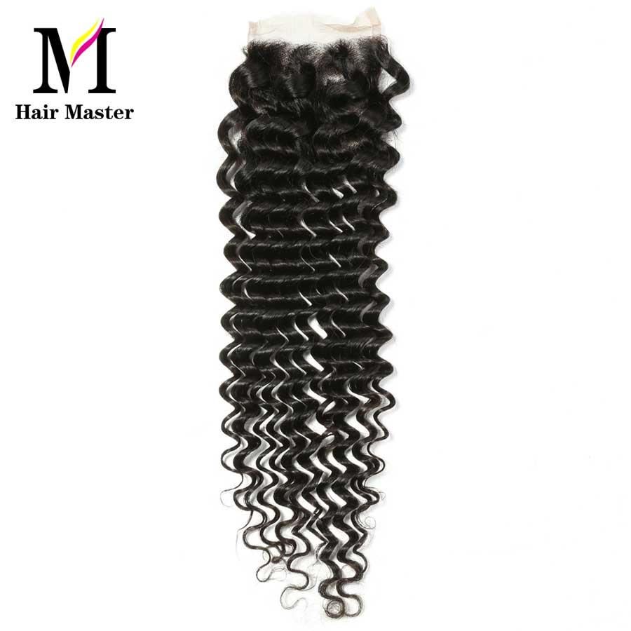 Hair Master Brazilian Deep Wave Closure Remy Human Hair Closure 4x4 Nature Color Lace Closure Deep Curl Closure Free Shipping