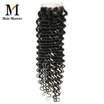 Hair Master Brazilian Deep Wave Closure Remy Human Hair Closure 4x4 Nature Color Lace Closure Deep Curl Closure Free Shipping