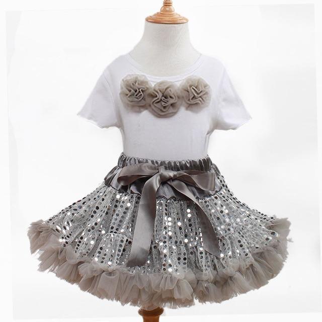 Lovely Girls Children Clothes Short Sleeve Top+Sequined Shinning Fluffy Chiffon Pettiskirt Newborn Baby Girl Tutu Skirts 1-8Y