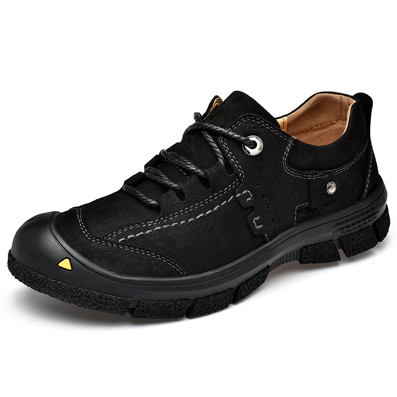 Vyrai, vandeniui atsparūs guminiai, patogūs laukiniai laisvalaikio batai, vyriški pilno grūdų odos mados batai, juodi Oxfords, atsparūs vandeniui