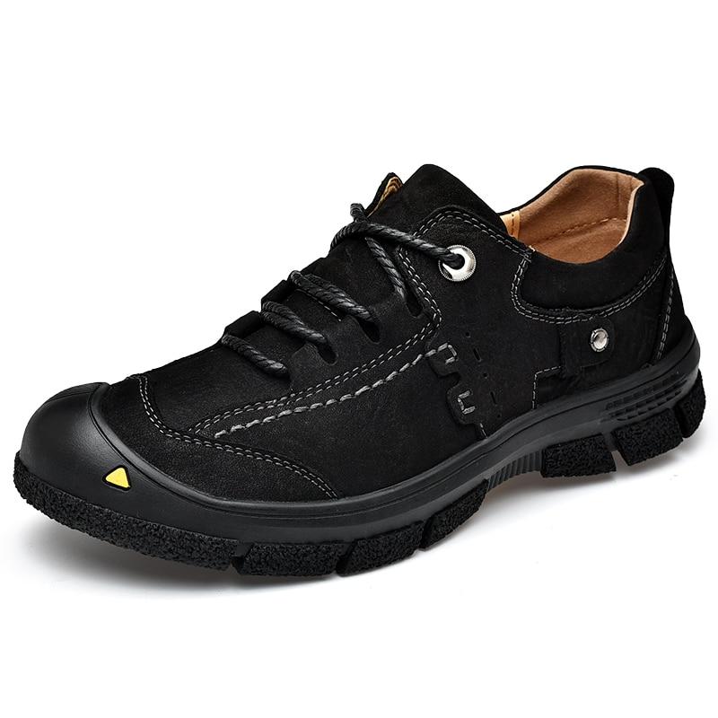 Muškarci Vodootporna guma Udoban otvoreni Casual obuća Muškarci puna zrna koža Moda Muške cipele crna Oxfords vodootporan