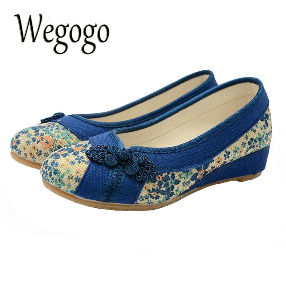 Wegogo Bordado Vintage Mujeres Caminando Zapatos Planos Plataforma de Lona Suave