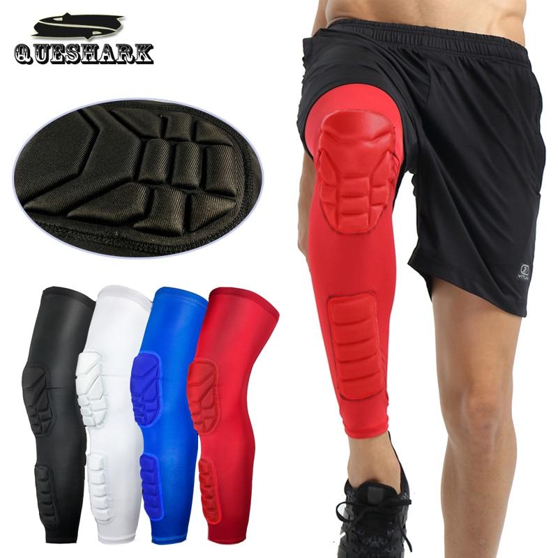 купить 1Pcs Breathable Men Honeycomb Long Basketball Knee Pads Leg Sleeve Calf Knee Support Brace Protector Leg Warmers Sports Kneepads по цене 311.43 рублей