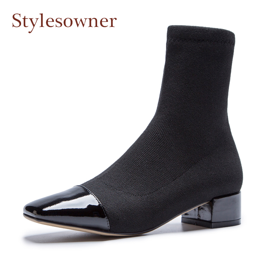 Stylesowner women ankle elastic sock boots chunky mid heel stretch short boots real leather patchwork square toe chelsea boot