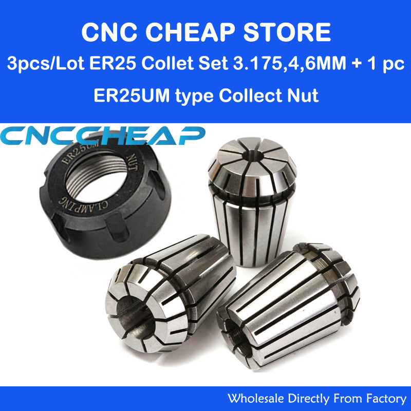 3PC ER ER25 3.175mm 4mm 6mm Collet Chuck For Spindle Motor CNC Router Engraving/Grinding/Milling/Boring/Drilling +1pc ER25UM NUT