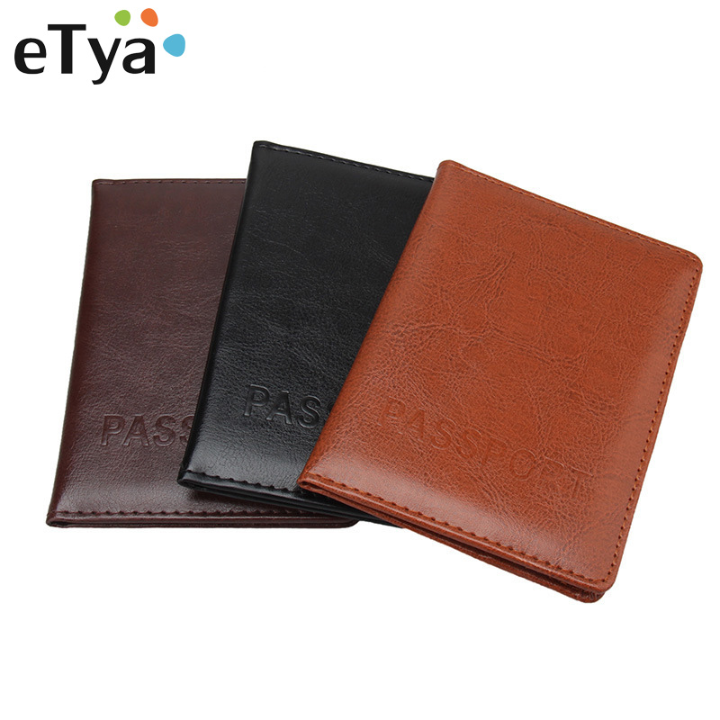 eTya Men Travel Passport Cover Documents Wallet Fashion PU Leather Women Male Business Credit Card Holder and Passport Holder etya men travel passport cover documents wallet fashion pu leather women male business credit card holder and passport holder