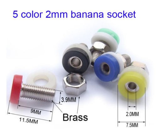 200pcs Color brass 2mm Banana Socket JACK for 2 MM BANANA PLUG Test Probes Instrument