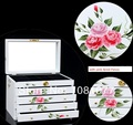 Beautiful Vintage wood jewelry case casket with 5 layer drawers  for jewelry package pink red flower wholesale price