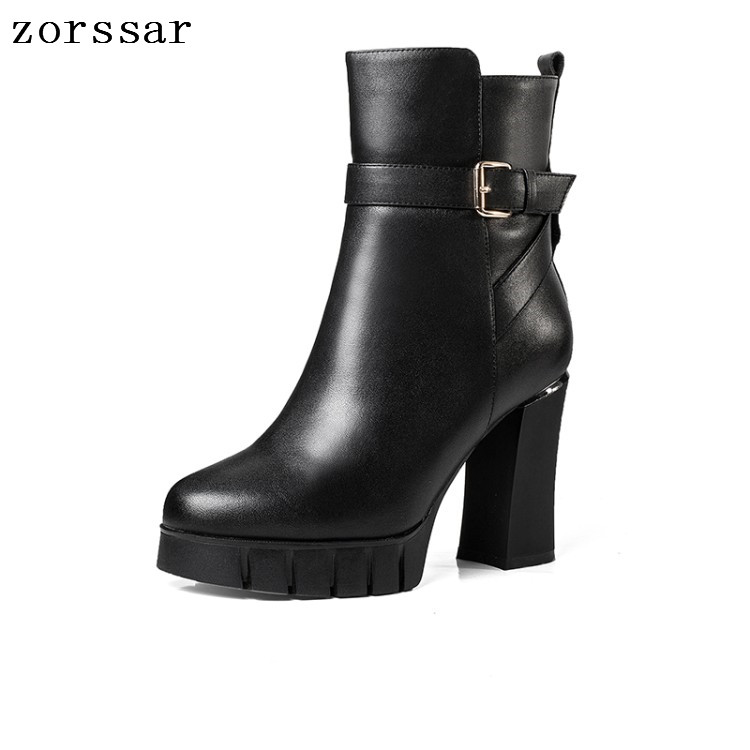 {Zorssar} Platform High heel Woman Ankle Boots Soft leather Women Motorcycle boots Winter Plush Female Booties Platform boots{Zorssar} Platform High heel Woman Ankle Boots Soft leather Women Motorcycle boots Winter Plush Female Booties Platform boots