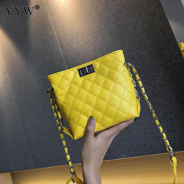 2018 Hot Sale Female Leather Bags For Women Yellow White Ladies Small Lock Chain Mini Crossbody Shoulder Bags Bolsos Mujer New 1