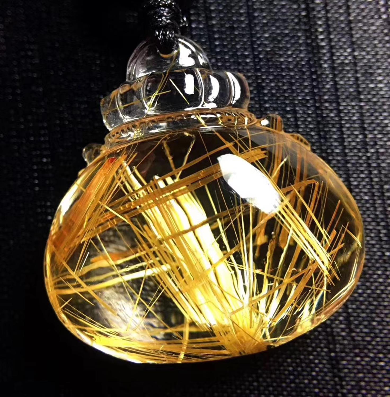 Certificate Natural Gold Rutilated Quartz Titanium Pendant Triangle Purse Shape Best Gift 28x25x11mm Crystal Stone Pendant AAAAA