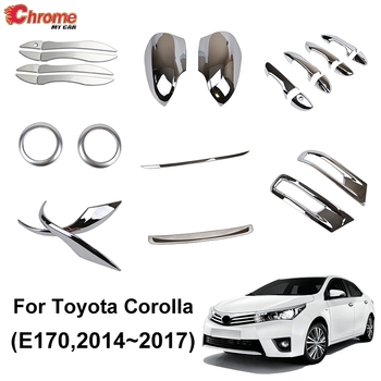 For Toyota Corolla Altis E170 2014 2015 2016 2017 Chrome Door Handle Side Mirror Fog Light Cover Trim Decoration Car Styling image