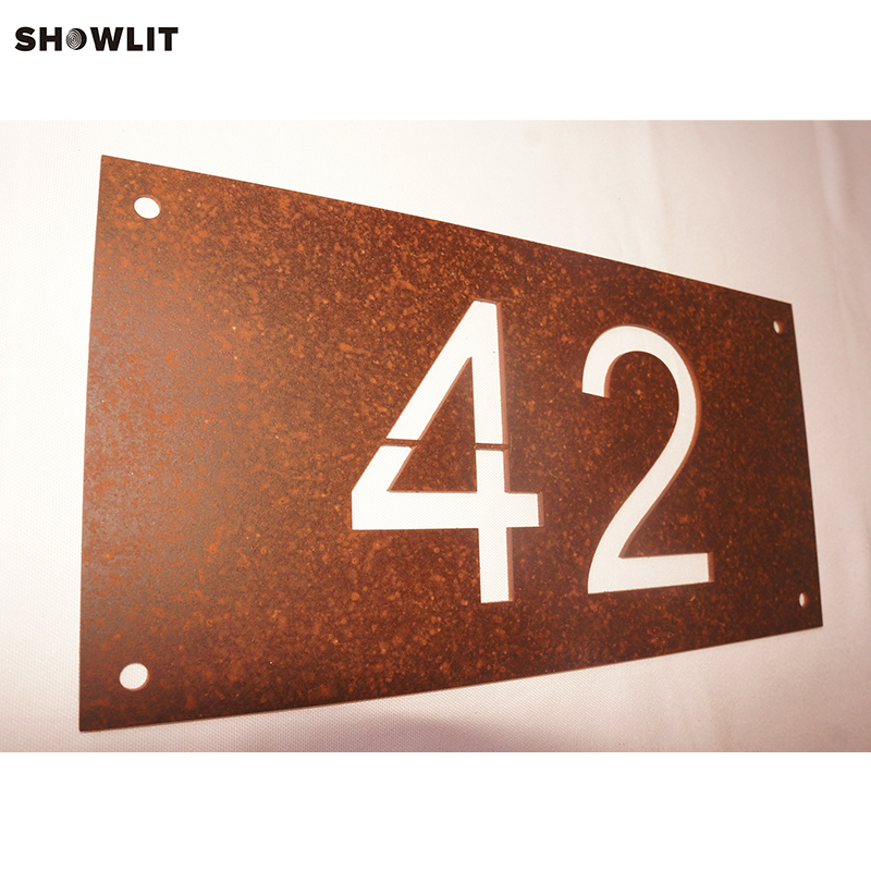 Rusted Steel House Address Number Sign Plaque custom modern house address number sign plaque