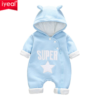 IYEAL Autumn&Winter Baby Boy Clothes Baby Rompers Fleece Newborn Clothing One Piece Baby Girl Clothes Romper Hooded Sleepwear