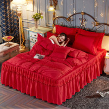 Modern Pattern Polyester Solid Color Bed Skirt for Wedding Decoration Women Girls Queen/King/Twin Size 4pcs Bed spreads(China)