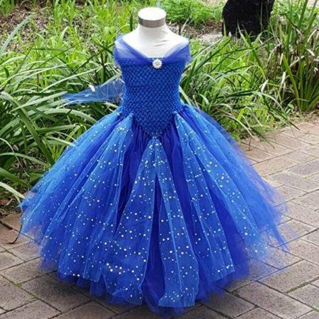 08fb36741086f7 Koningsblauw V-Vormige Meisjes Tutu Jurk voor Party Spark Tulle Prachtige  Blauw Paars Glittery Kids