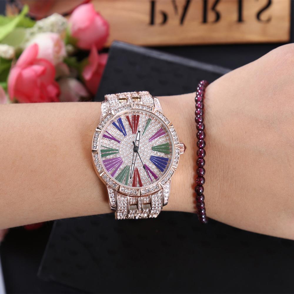 Chaud LGXIGE femmes robe montres de luxe marque dames montre à Quartz cristal diamant or Rose Bracelet montre-Bracelet cadeaux pour les femmes